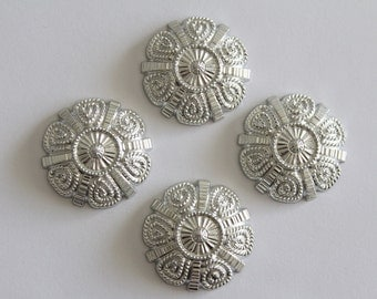LAST LOT - Vintage detailed silver round medallion acrylic cabochons . 30mm (4)
