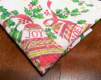 Vintage Linen Christmas Bells Tea Towel