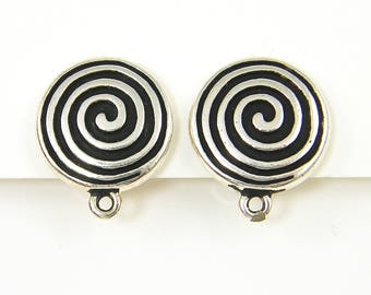 Pewter Spiral Clip on Earring Findings by Tierracast, Large Round Silver Black Clip Earring Jewelry Supply