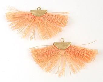 Peach Fringe Earring Findings Half Circle Crescent Half Moon Thread Boho Peach Gold Fan Earring Dangles Jewelry Supply |O4-6|2