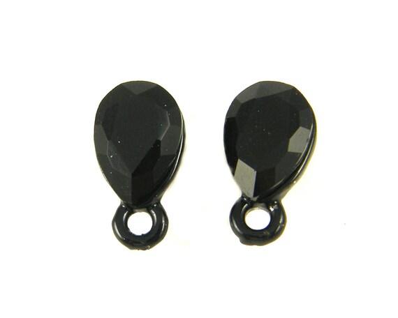 black earring findings jet black faceted teardrop rhinestone post