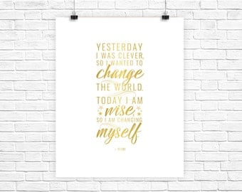 Today I Am Wise - Inspirational Typographic Print