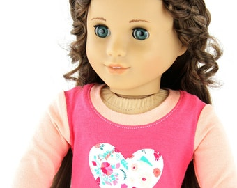 Fits like American Girl Doll Clothes - Heart Raglan Tee and Floral Leggings, Made To Order