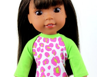 Fits like Wellie Wishers Doll Clothes - Lime Green and Hot Pink Leopard Print Baseball Tee