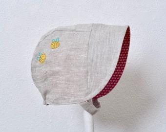 Reversible Baby Bonnet Kokka Sun Hat Bee's Knees Washed Linen