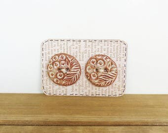 Round Textured Stoneware Buttons in Light Shino Glaze - Set of 2