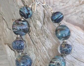 Handmade Glass Lampwork Bead Bracelet with Sterling Silver - Denim Blue
