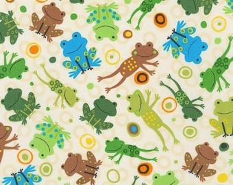 Bermuda Frogs - Robert Kaufman- Jump Into Fun -Cotton Fabric- By the yard and Half yard- Juvenile fabric