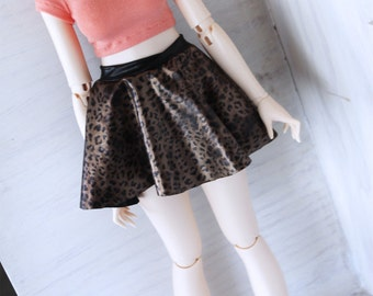 SD BJD feeple 60 clothes Black fake leather gold leopard circle skirt by MonstroDesigns Ready to ship OOAK