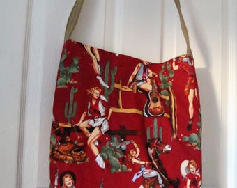 Check out this great Cowgirl Tote Bag, 2 pockets on the inside. Go to the Beach, Mall, Flea Market, Spa!  15x15x3 Made in the USA