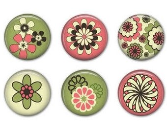 FLOWER SET 1 -  Magnets with Organza Gift Bag - Set of Six - 1.25 inches