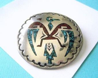 Large Navajo Sterling Silver Inlay Thunderbird Disc Pendant/Brooch