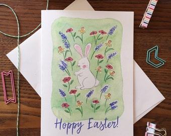 Bunny Card. Easter Bunny Card. Spring card. Garden Card. Wildflowers card. Blank Card. Easter Pun Card. Rabbit Card. Watercolor Card