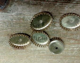 6 Brass Oval Crown Bezel Settings 20x15 with rivet hole