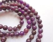 4mm Round Natural Lepidolite Semi Precious Gemstone Beads - Half Strand