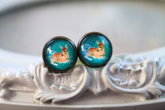 Pretty deer fawn clip on earrings sweet lolita feminine