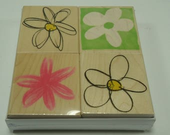 Daisy Quartet Wood Mounted Rubber Stamp Set LL097 From Hero Arts, Thinking Of You, Get Well Wishes, Celebrate, Smiles & Laughters