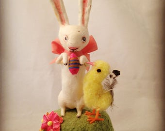 Spun cotton white rabbit with egg and vintage chick figure by Maria Paula