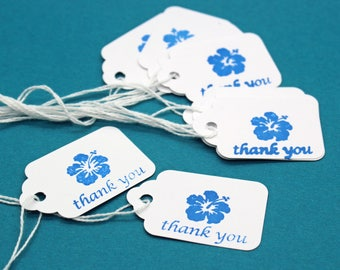 Hang Tag, Hibiscus Thank You Hang Tag, Wedding Favor Tag, Price Tag, Small Hang Tag, Hibiscus Flower, Party Favor Tag