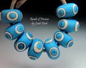 Handmade Artisan Glass Lampwork SRA Beads of Passion - 8pc Fun Turquoise Rounds