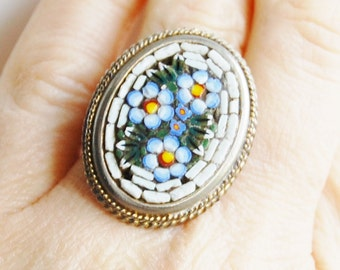 1930s Italian Micro Mosaic Ring Oval Blue Flowers Vintage Italy Adjustable Size 6