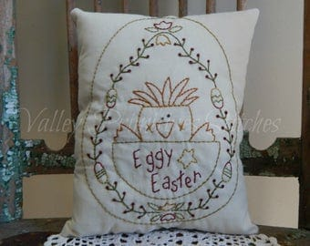 Easter Decorative Pillow, Spring Chick, Easter Eggs, Tulips, Hand Stitched