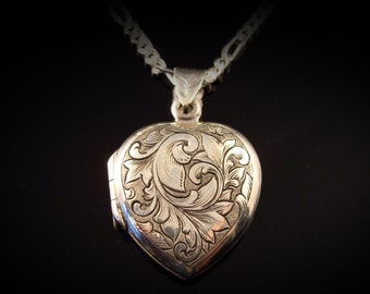 Art Nouveau Inspired Hand Engraved Sterling Silver Heart Locket