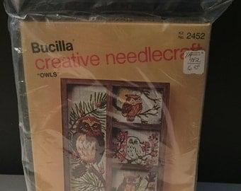Vintage New in Package Bucilla Creative Needlecraft Owls Decorator Shadow Box Hutch Kit