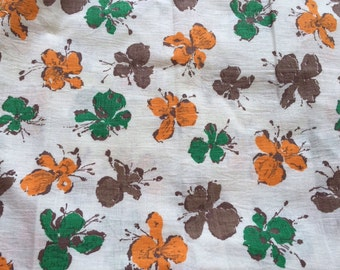 Vintage Brown Orange and Green Abstract Floral Flowers Feedsack Fabric (No Longer a Sack)