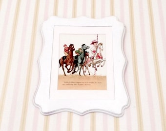 6x8 Vintage 1960's Petite Mary Poppins Jolly Holiday Horse Race Illustration. Nursery Book Plate Vintage Disney Print
