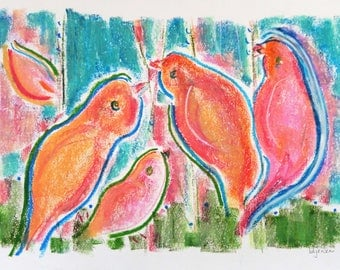"Birdland 9, large original signed drawing c028 (11 3/4"" x 17.5"")"