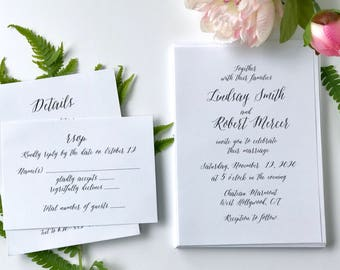 Simple Wedding Invitation, Pretty Invitation, Clean Invitation, Modern Invitations, Printed Invitations