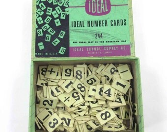 Vintage Set of 229 Small Yellow Number Cards and Math Symbols by Ideal with Original Box