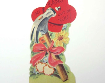 Vintage 1950s Children's Novelty Valentine Greeting Card with a Hammer and Heart Tool