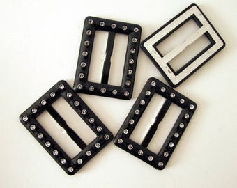"""1 to 4 BUCKLE SLIDERS Faux rhinestone in black lucite. 2 1/4"""" long.  B088 belt buckle, embellishment, gothic accessory"""