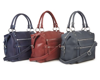 Leather Purse Handbag with Zipped Pockets
