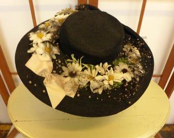Vintage 1950's Black Wide-Brimmed Portrait Hat