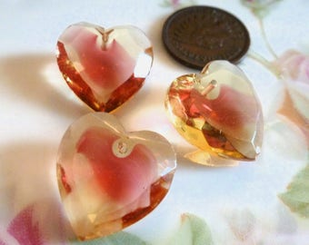 1 Vintage Jonquil/Rose Givre, Two Tone Glass Heart Pendants, Heart Drop, Top Drilled, Flat Surface, 18x17mm, 1 piece