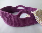 Crocheted Doll Moses Basket and Blanket, Purple/Buttercup