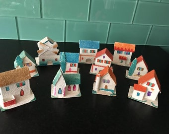 Set of 11 Vintage Christmas Houses Putz Miniature Village from Japan