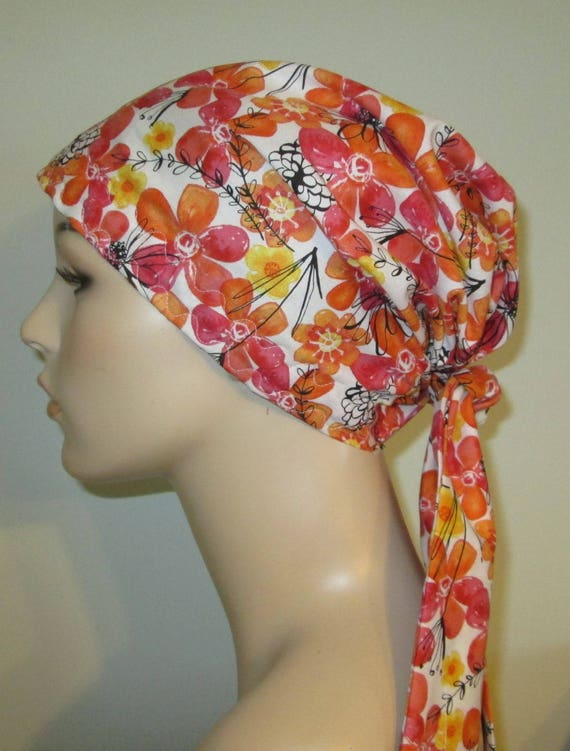 Womens PreTied Coral Floral Chemo Hat, Cancer Scarf, Modest Hat Alopecia