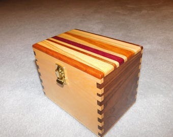 "Wood Recipe Box for 4"" x 6"" Index Cards - Walnut and Maple"