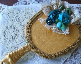 Victorian Mirror, Handmade,Hand Held Mirror,Special Gift,Ribbon Roses,Ladies Vanity Mirror,Satin and Lace, Gift Idea,Women, Girls