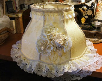 Upcycled Ivory Victorian Lampshade with Hand Made Victorian Roses, Lace, Fringe, Gimp,for Large Lamp,Floral Satin, Beautiful,Pearls