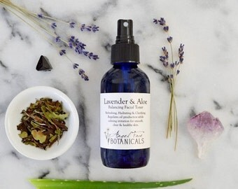 SALE - Organic Facial Toner: Lavender and Aloe Vera with Wild Blueberry and Rooibos - Clarifying and Balancing - Natural, Vegan 4.5 oz