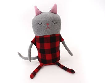"Cat Sleepy Kitty in Pajamas ""Warner"" Cotton Monster Plush"