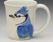 Porcelain Mug with Blue Jay Carvings