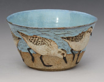 BIRDS & BEACH BOWL-- Medium 16 ounce size with 5 Sanderlings 2 of 3 from second set