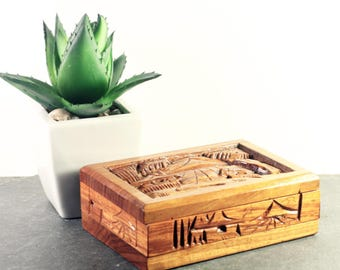 Carved Wood Trinket Box, Decorative Vintage Container