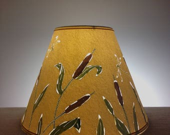 Cattail & Dragonfly Paper Lampshade-Lamp Shade-Clip on Lampshade-Rustic-Dragonfly-Handmade-Lighting-Lamps-Nature-Paper-Pierced Lampshade
